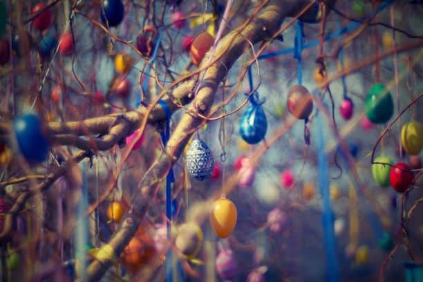 Easter Eggs tied in Tree with ribbons