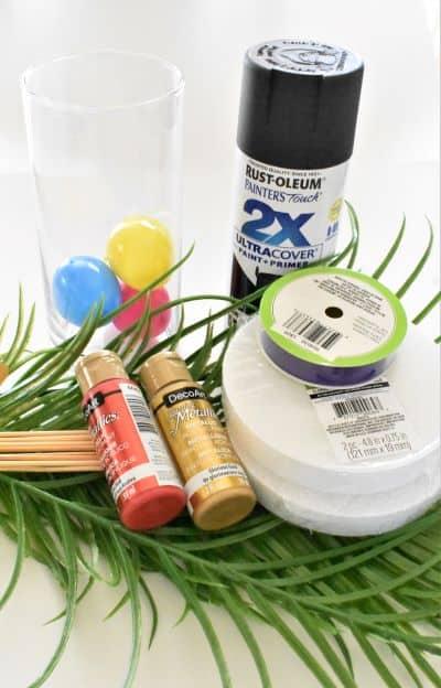 Easter centerpiece supplies, eggs, vase, paint, artificial palm fronds, Styrofoam, ribbon