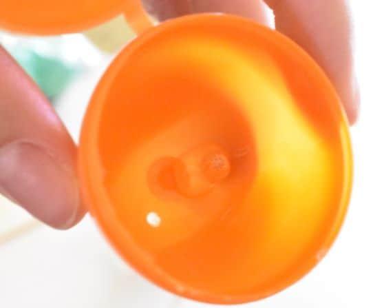Skewer stem glued into plastic egg