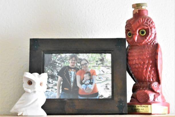 Asymmetrical balance in vignette, red, tall owl, family photo, short white owl