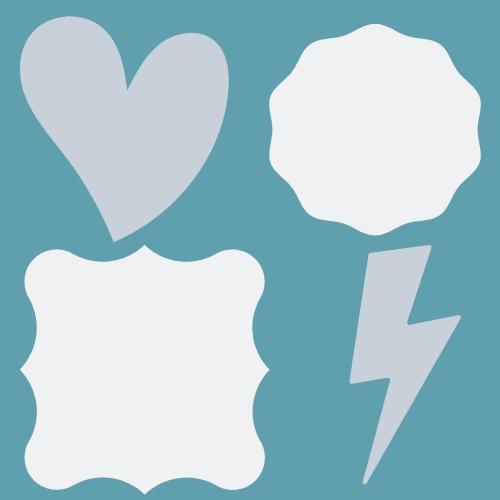 Organic shapes: heart, wavy circle, wavy square, lightning bolt