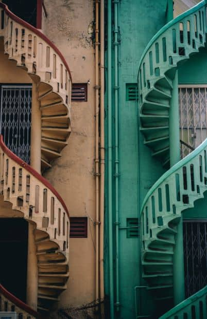 Symmetrical balance in staircases, one tan, one green