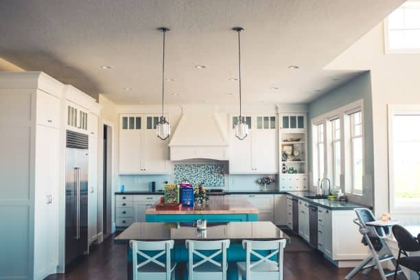 Symmetry in kitchen, island, dining table