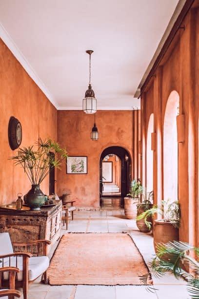Room with stucco on walls