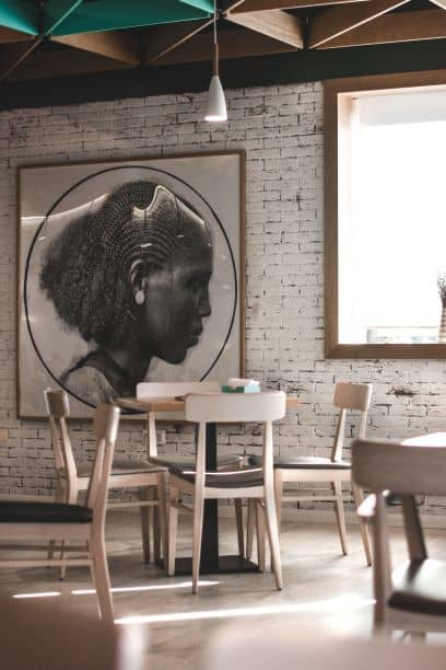 Extra large portrait wall art in eating area