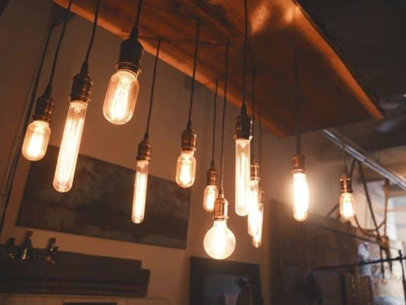 Various Edison bulbs in alternating shapes