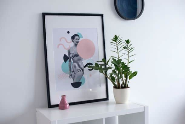 Asymmetrical balance creates movement within vignette of photo of woman, potted plant, and small pink vase