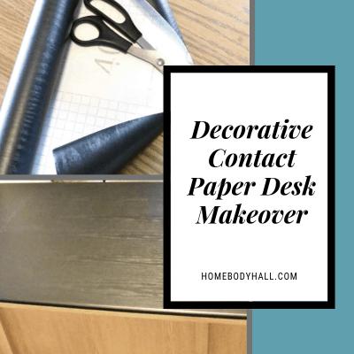 Decorative Contact Paper Desk Makeover