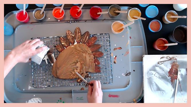 acrylic pouring turkey fall decor in progress