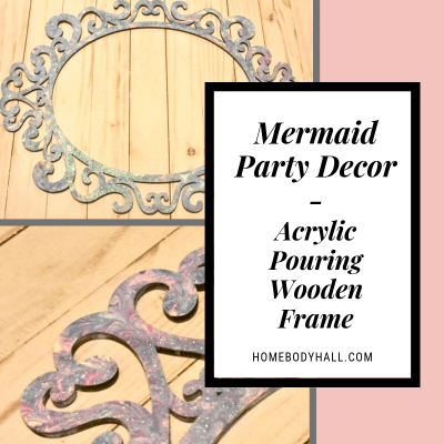 Mermaid Party Decor Acrylic Pouring Wooden Frame