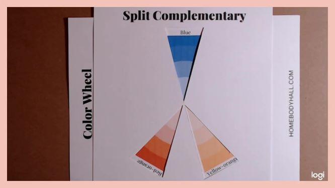split complementary color scheme on a color wheel:  blue, red-orange, yellow-orange