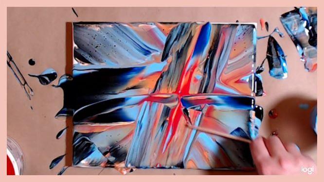 acrylic pour starburst in progress