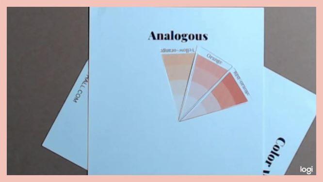 analogous color scheme on color wheel:  yellow-orange, orange, red-orange