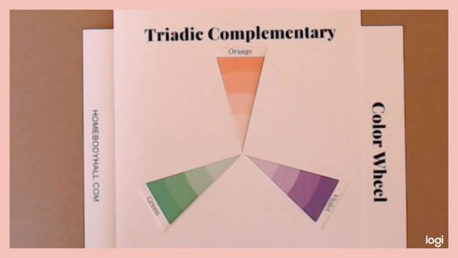 triad color scheme: orange, green, violet