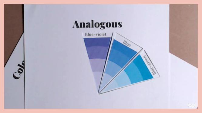 analogous color scheme on color wheel:  blue, blue-violet, blue-green