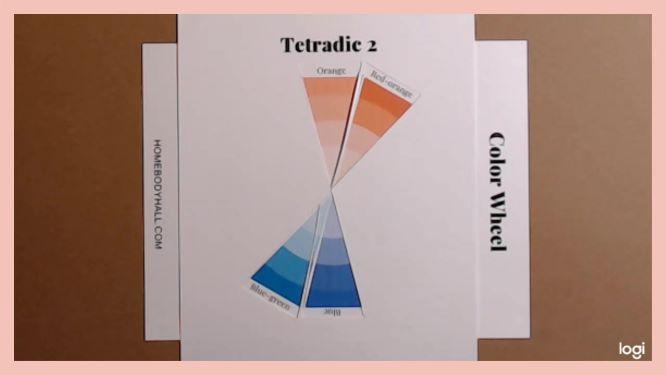tetrad color scheme on color wheel:  orange, red-orange, blue, blue-green