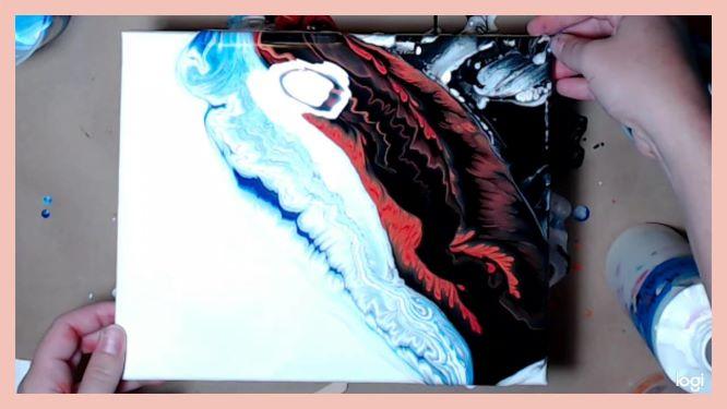 kiss paint pour in progress