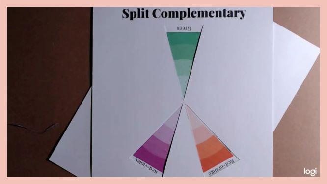 split comlimentary color scheme on color wheel:  green, red-violet, red-orange