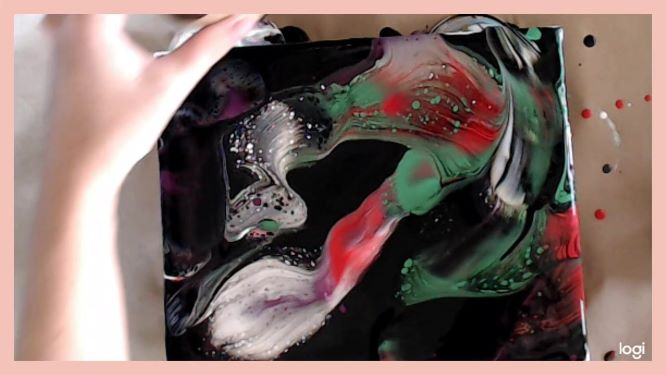 open cup acrylic pour in progress