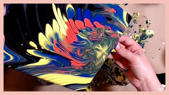 strainer painting in progress