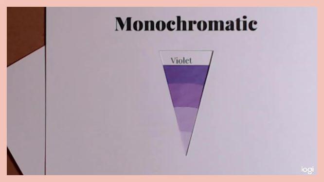 monochromatic color scheme on color wheel, violets