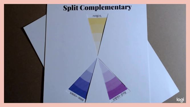 split complementary color scheme on color wheel yellow, red violet, blue violet