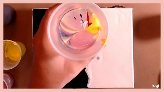 flip cup painting in progress