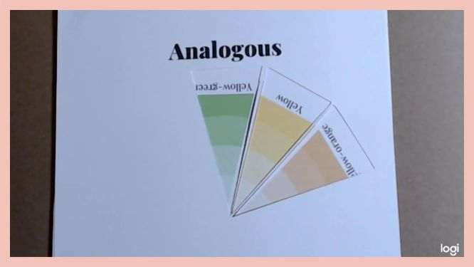 analogous color scheme on color wheel:  yellow-green, yellow, yellow-orange