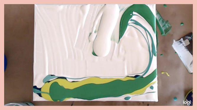 wave acrylic pour in progress