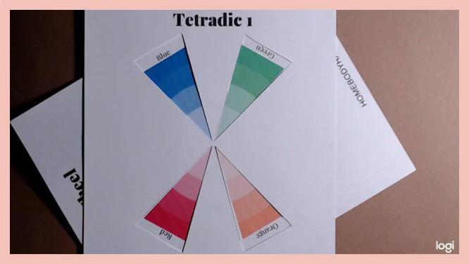 tetradic color scheme on color wheel: blue, green, red, orange
