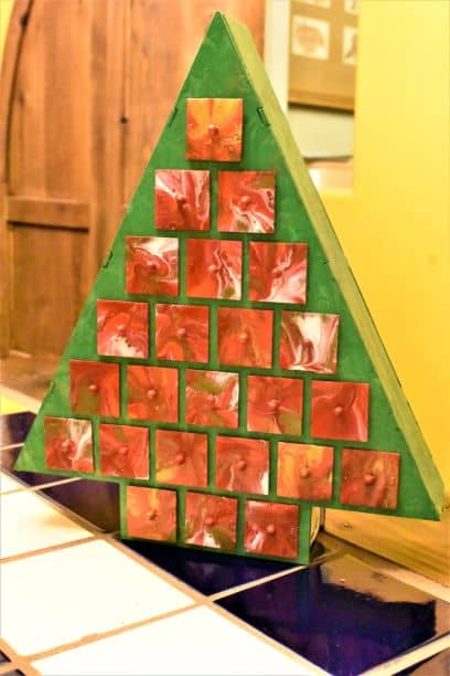 Wooden DIY acrylic pouring Christmas tree advent calendar