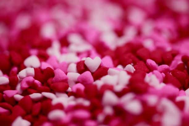 Thousands of red and pink heart candies