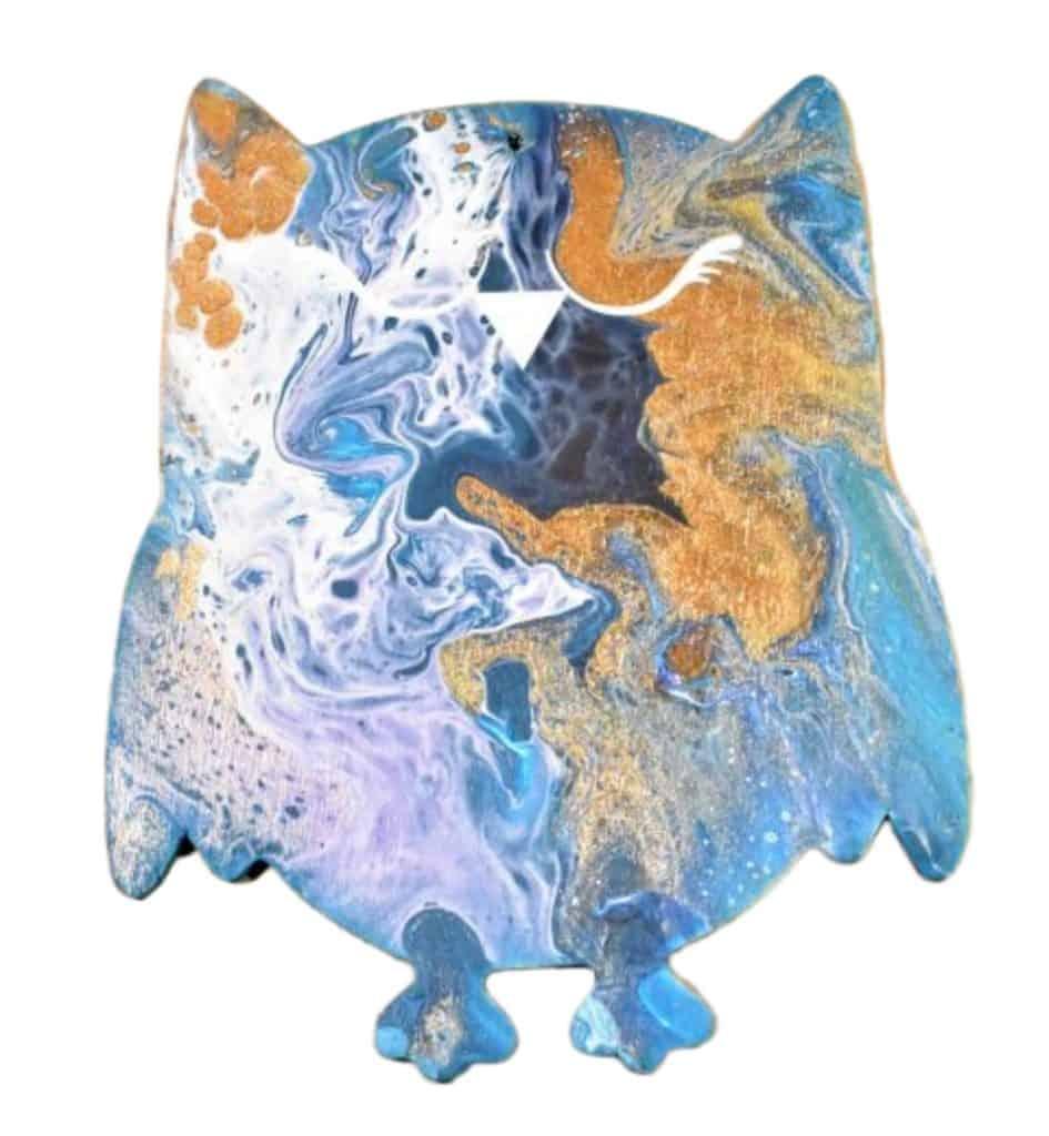 DIY Home Decor Crafts Acrylic Pouring Owl