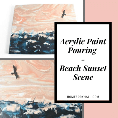 Acrylic Paint Pouring Beach Sunset Scene