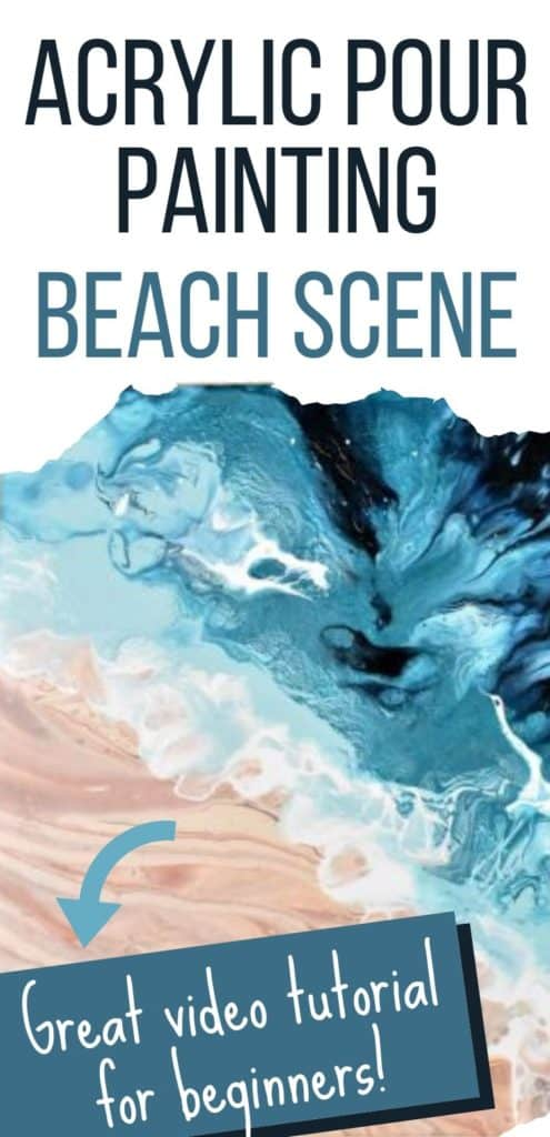 Acrylic Paint Pouring Beach Scene