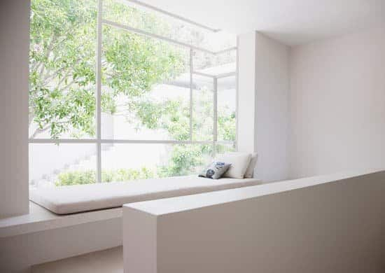 clean window with bench to make home look better