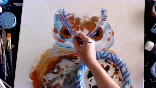 adding facial features to your owl painting