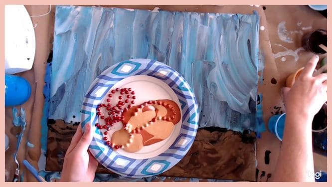 adding coral to underwater painting with chain pull and metallics