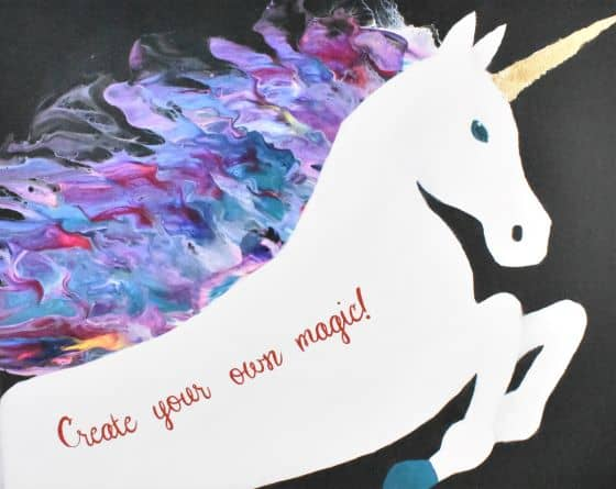 completed unicorn painting with Create your own magic! written on it!