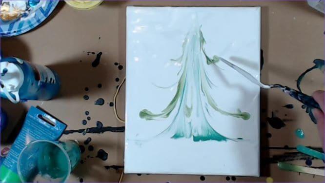 Christmas tree painting in progress