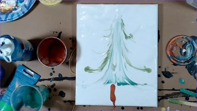 christmas tree painting in progress trunk being put on