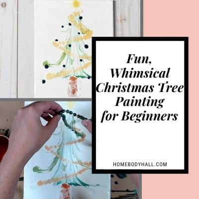 Fun, whimsical Christmas tree painting for beginners