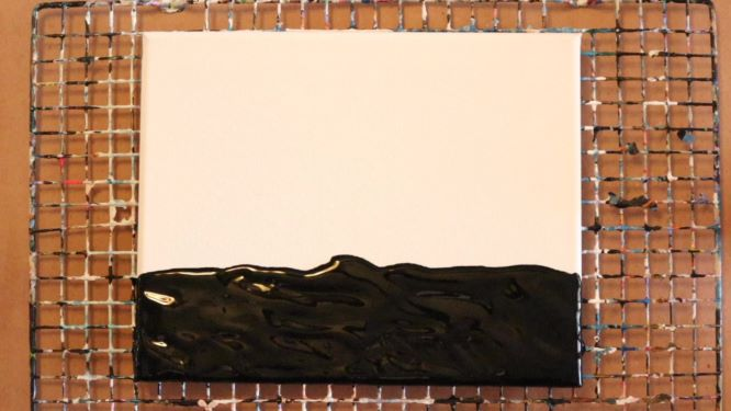 black foreground of sunset painting