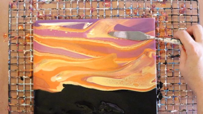 swipes added to sunset painting
