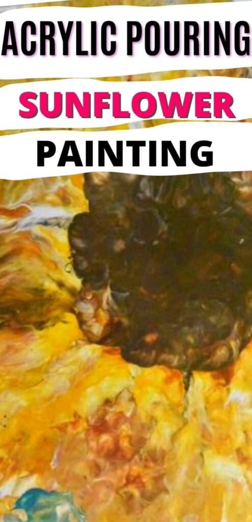 Acrylic Pouring Sunflower Painting