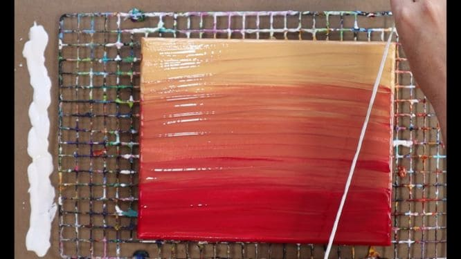 how to paint trees, a birch tree forest in acrylic pouring work in progress